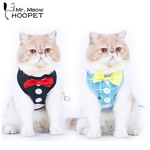 Tuxedo Cat Harnesses Set Cute Bow-Tie Leash & Collar - Cats Love Life