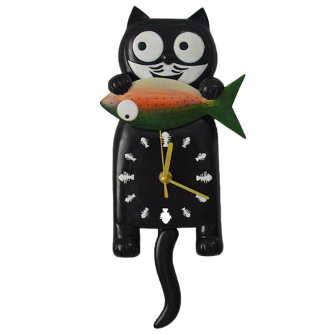 Cat With Fish Wall Clock With Pendulum Tail - Cats Love Life