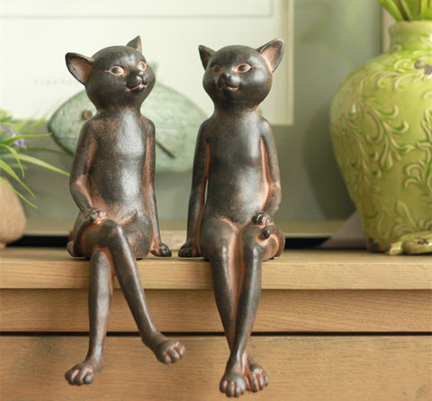Two Cats Sitting Sculpture - Cats Love Life