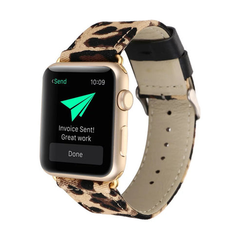 Leopard Printed Genuine Leather Watch Band For Apple Watch 38mm And 42mm - Cats Love Life