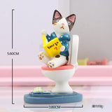 Funny Cat Sitting On the Toilet Reading Figurine - Cats Love Life