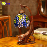 Tiffany Style Stained Glass Lamp With Cat Base In Two Colors - Cats Love Life