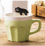 Coffee Shop  Small Ceramic Mug With Cute Cats Sitting On The Rim - Cats Love Life