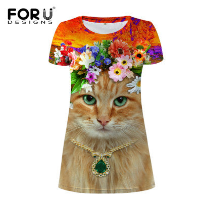 Colorful Floral Cat Print Short Summer Dresses - Cats Love Life
