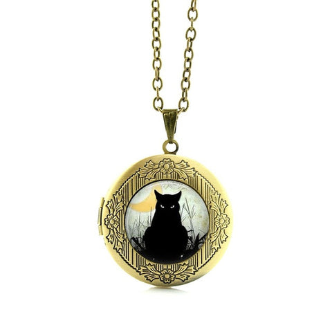 Vintage Black Cat And Others Locket Necklace - Cats Love Life