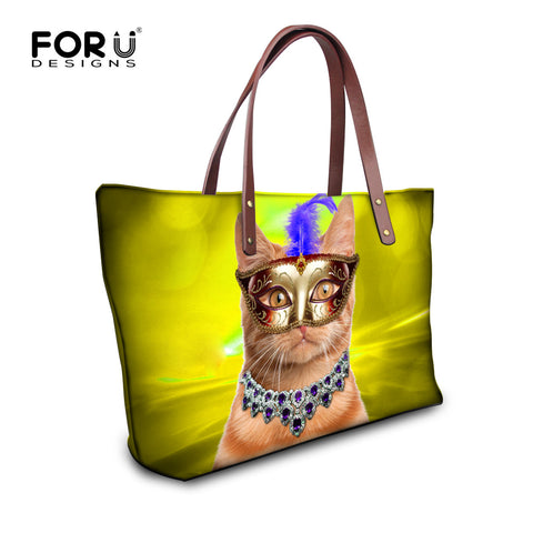 Feather Mask Cat Print Tote Bag - Cats Love Life
