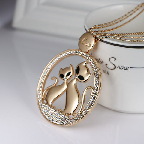 Love Couple Cats Charm Crystal Necklace - Cats Love Life