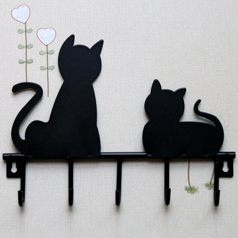 Black Cat Metal Wall Hooks