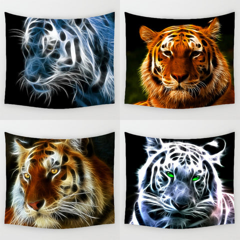 Light Tiger Pattern Wall Hanging Tapestry 59 X 51 Inches - Cats Love Life