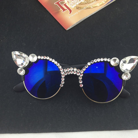 Round Crystal Cat Eye Sunglasses - Cats Love Life