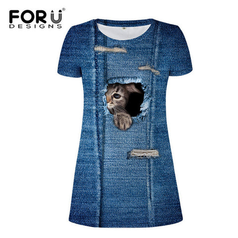 Cat Tearing Through Denim Dress
