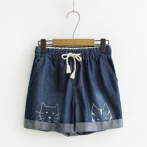 Cats Embroidery Pattern Loose Denim Jean Shorts - Cats Love Life