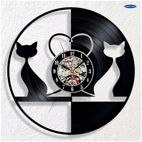 Two Cats In Love Wall Clock - Cats Love Life