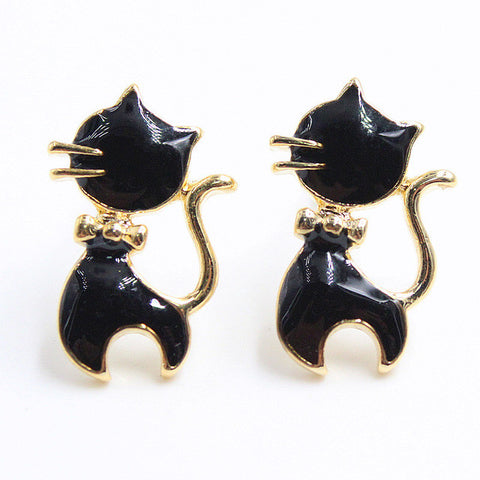 Cute Kitty Gold Plated Earrings In 10 Colors - Cats Love Life