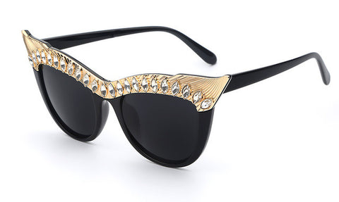 Crystal Stone Oversized Cat Eye Sunglasses - Cats Love Life