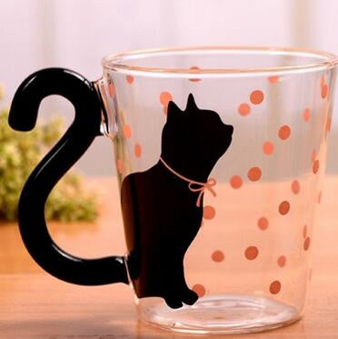 Super Fun Glass Cat Mug With Tail Handle - Cats Love Life