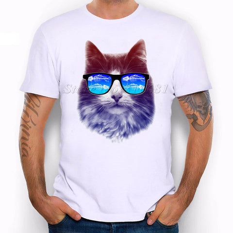 Men's Cool Cat Glasses Print T-Shirt - Cats Love Life