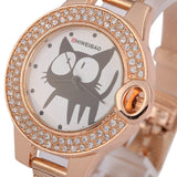 Rose Gold Cat Watch With Rhinestones - Cats Love Life