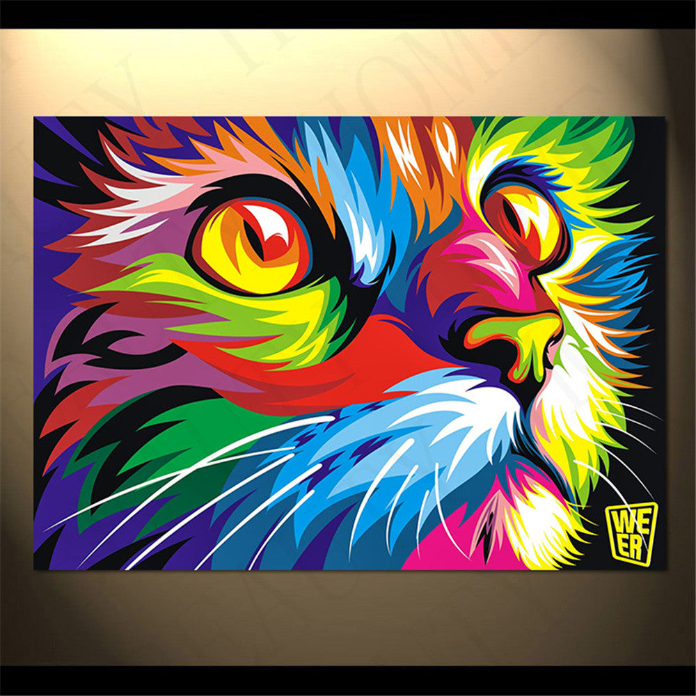 Colorful canvas painted cat face unframed cats love life for Cat paintings on canvas