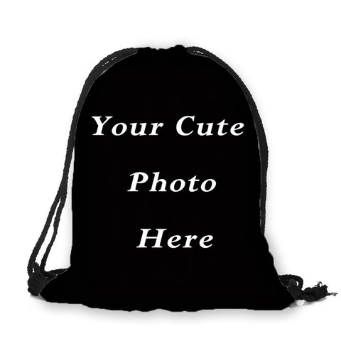 Custom Photo Print Drawstring Bag - Cats Love Life