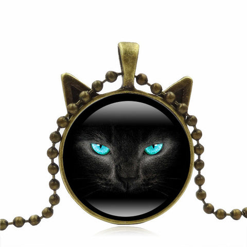 Black Cat Face Glass Pendant - Cats Love Life
