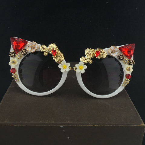 Daisy Flower Cat Eye Sunglasses With Red Gem Rhinestones - Cats Love Life