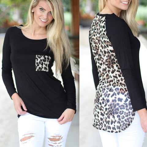 Leopard Print Patchwork Loose Long Sleeve Blouse - Cats Love Life