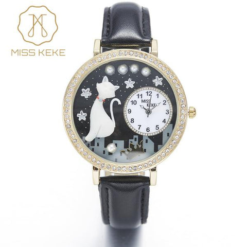 Golden Night Rhinestone Cat Watch