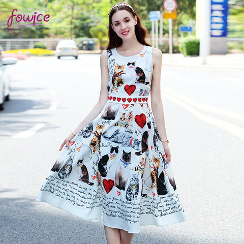 Hearts And Cats Sleeveless Dress - Cats Love Life