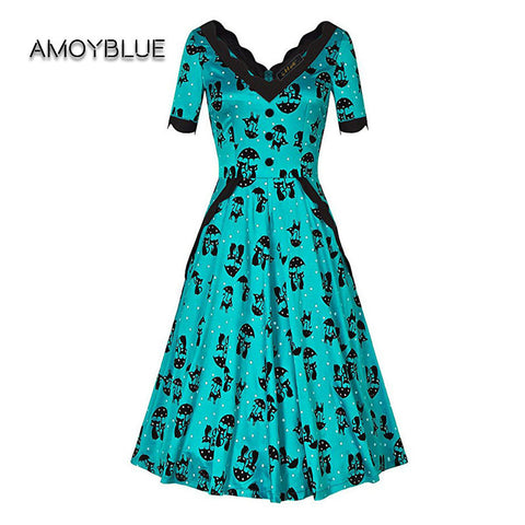 Cat Print Retro V-neck Dresses - Cats Love Life