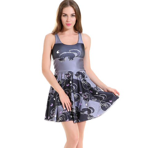 Gray Cat Pleated Sundress - Cats Love Life
