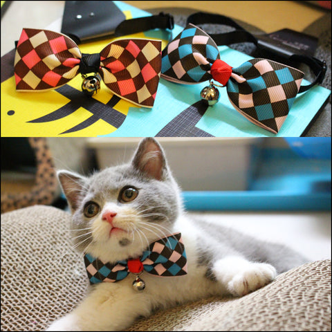 Diamond Pattern Cat Collar Cat Bow Tie - Cats Love Life
