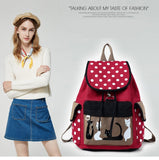 Red Canvas Backpack With White Polkadots - Cats Love Life