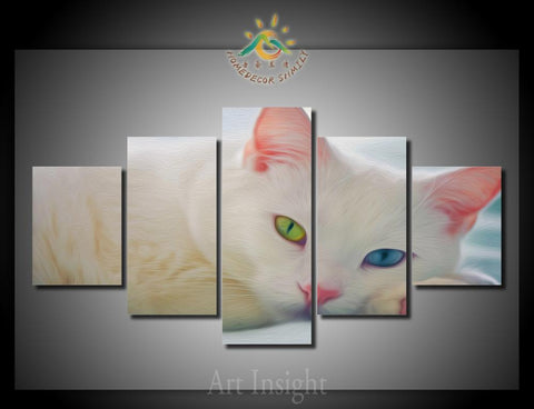 Colorful Cat Eyes White Cat Oil Print On Canvas 5 Pieces/set With Frame Or Without - Cats Love Life