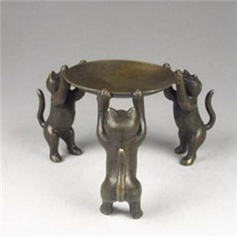 The Bronze Cats Candle Holder Sculpture - Cats Love Life