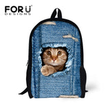 Cute Cat Tearing Through Denim Bookbag - Cats Love Life