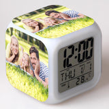 Custom Family Photo Alarm Clock LED Colorful Flash Touch Night Light - Cats Love Life