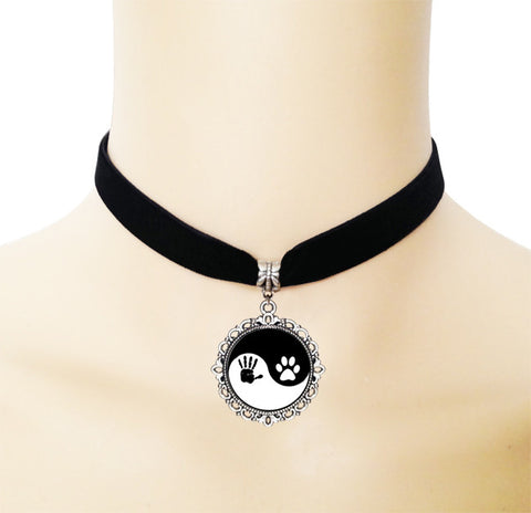 Ying Yang Paw Print And Human Print Choker Necklace - Cats Love Life
