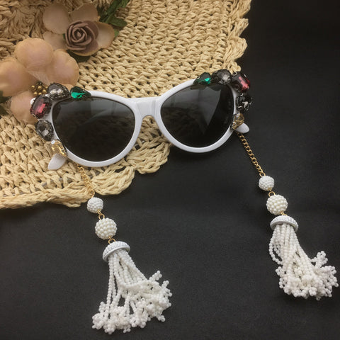 Crystal Cat Eye Sunglasses Long Pearl Tassel