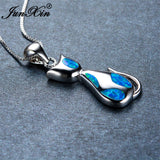 Blue Opal Sterling Silver Cat Necklace - Cats Love Life