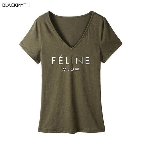 FELINE MEOW Cotton V-Neck T-Shirt - Cats Love Life