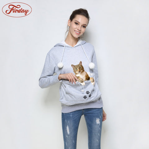 You And Your Cat Attached By The Hip Hoodie With Ears - Cats Love Life