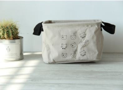 Cat Pattern Cotton Linen Storage Box Holder - Cats Love Life