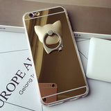 Mirror iPhone Case For 6 6s 6 plus 7 7plus And Samsung With Cat Ring Holder Stand - Cats Love Life