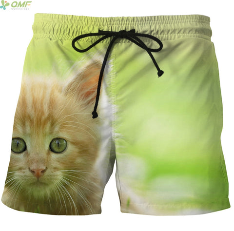Kitty Cat Pattern Surf Swim Shorts Quick Dry Mesh - Cats Love Life