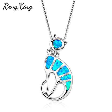 Cute Cat Blue Fire Opal Pendants - Cats Love Life