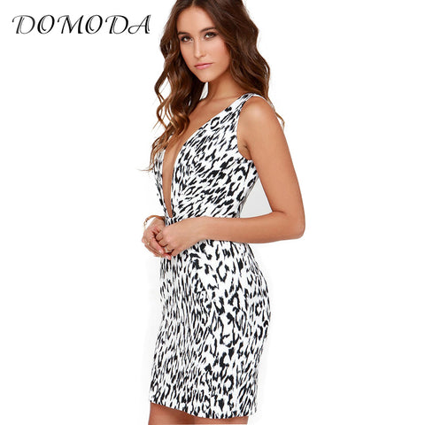 Sleeveless Leopard Print Deep V Neck Sexy Dress