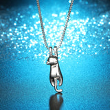 Cute Kitty Dropping In Silver Necklace - Cats Love Life