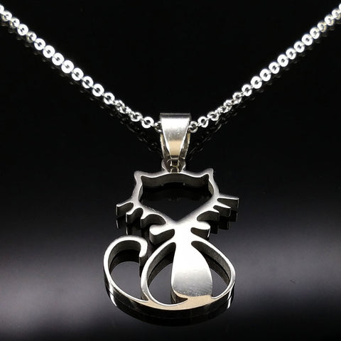 Stainless Steel Cat Necklace - Cats Love Life
