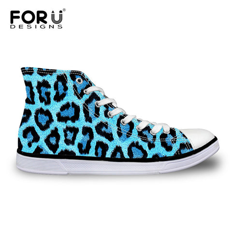 Women's Canvas Colored Leopard Print High Top Lace-up Sneakers - Cats Love Life